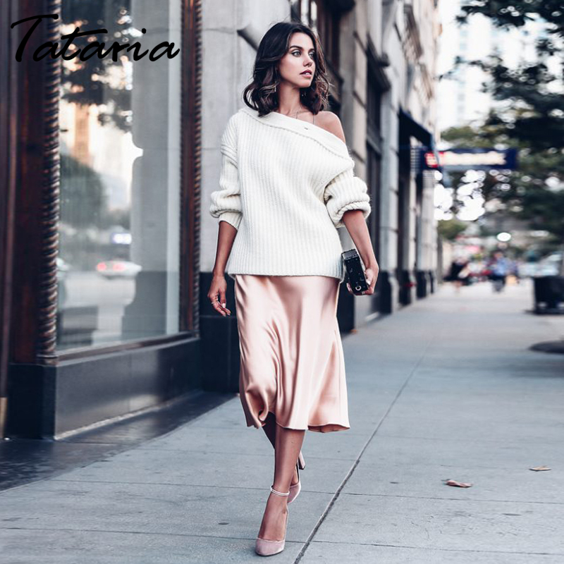 Tataria High Waisted Skirts for Women Silk Satin Skirt 2020 Women A Line Elegant Skirts Women Women Midi Skirt New Korean Style|Skirts| - AliExpress