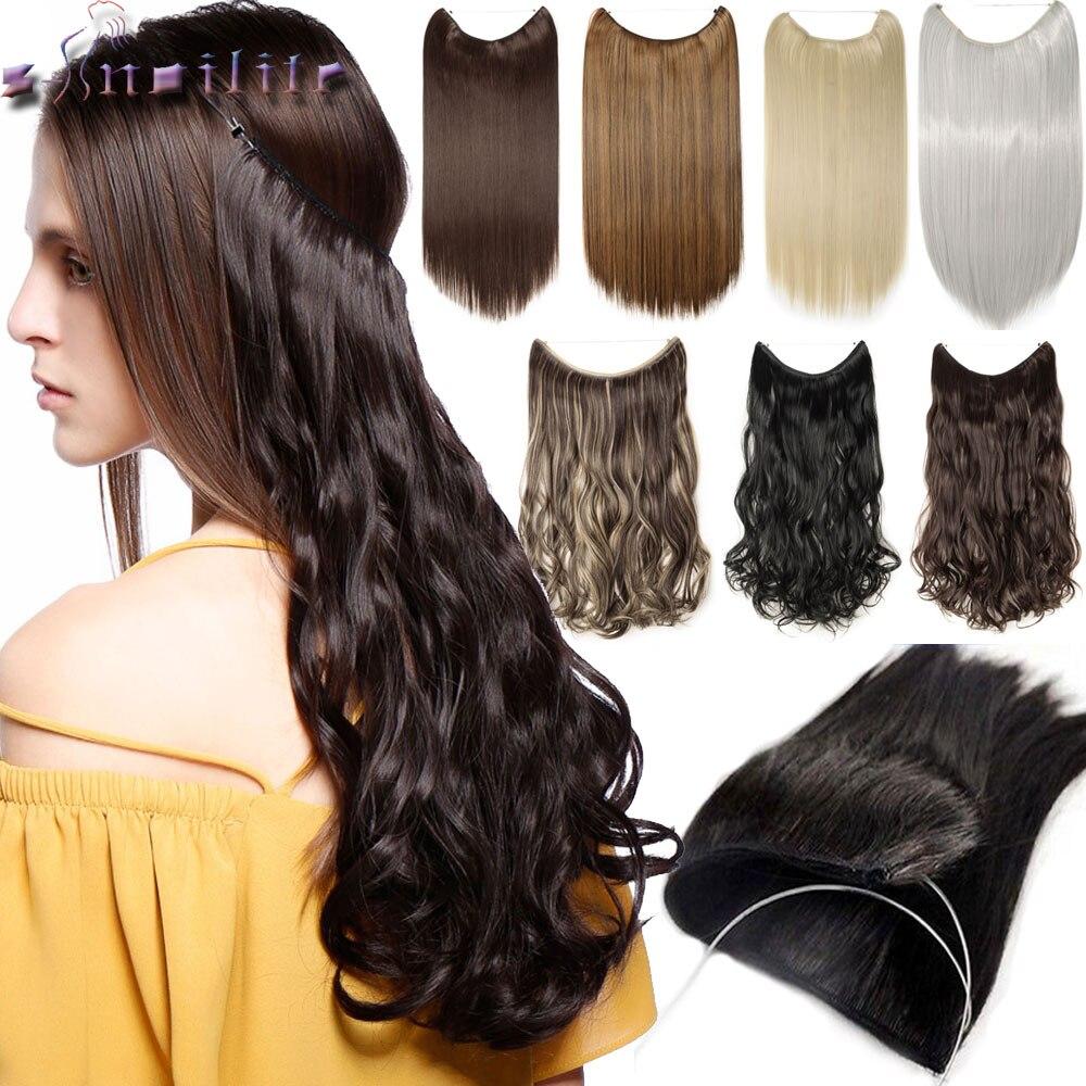 S-noilite 20 polegadas 100% Real cabelo Natural Invisível Fio na Linha de Extensões de Cabelo Sintético Nenhum Clipe com Secrect fácil Anexar