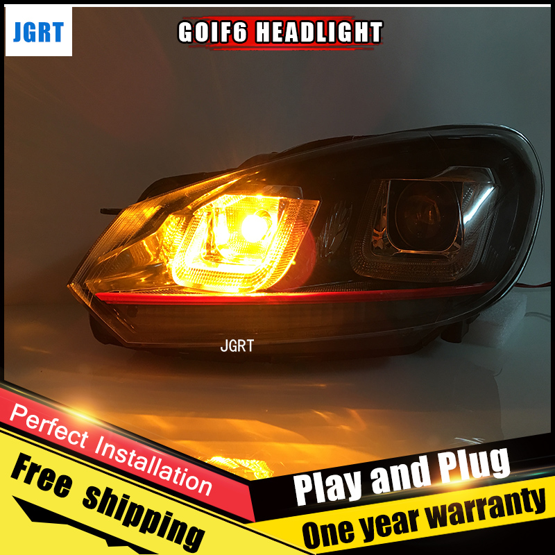2PCS Car Style LED headlights for VW Golf 6 2009-2013 for Golf 6 head lamp LED DRL Lens Double Beam H7 HID Xenon bi xenon lens led headlights for vw volkswagen golf 6 mk6 2010 2014 uu type drl led headlights demon eyes