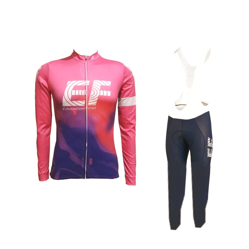 winter fleece pro team ef pink 2019 long sleeve cycling jersey kits warmer MTB quick dry bike clothing Ropa ciclismo gel pad