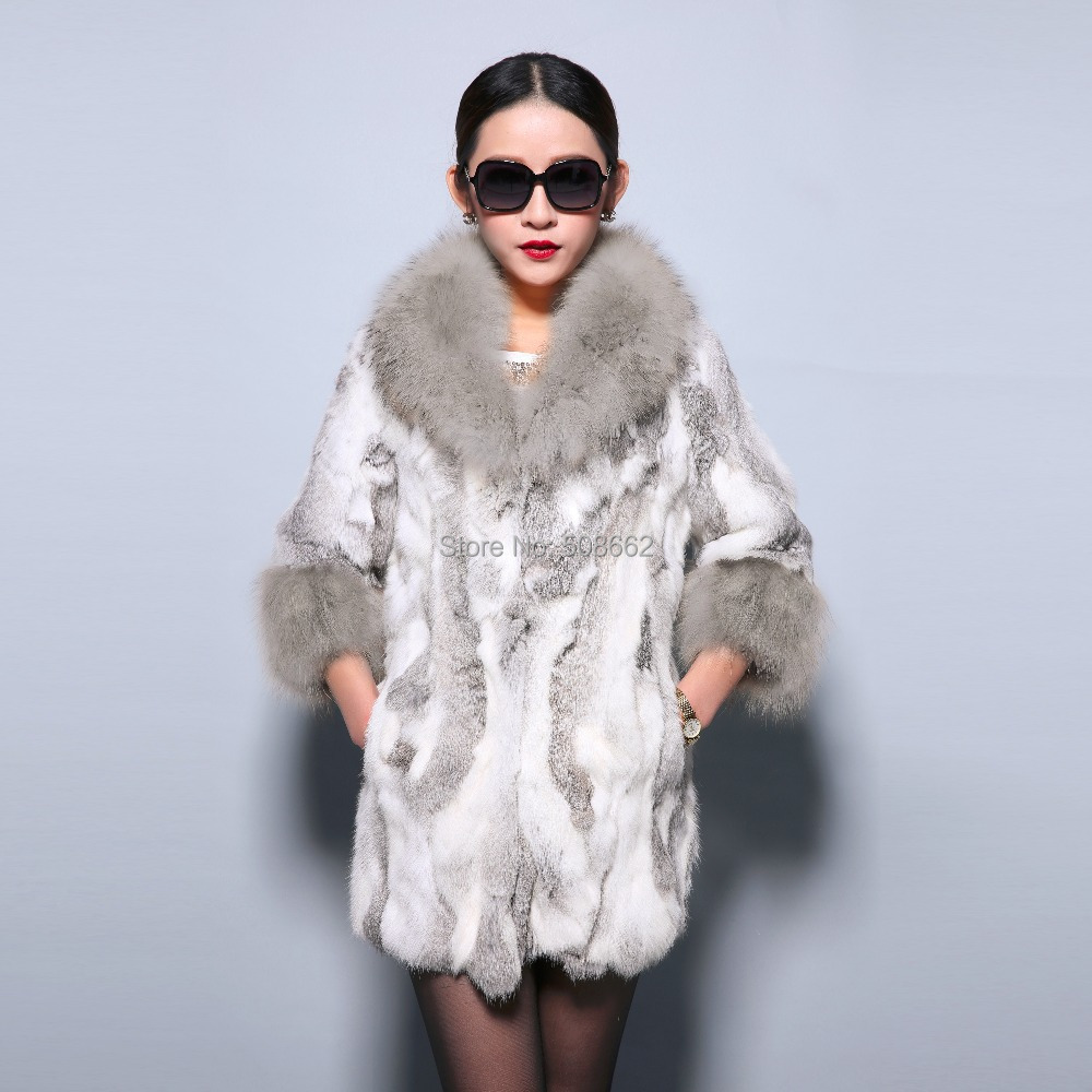 Fur Story 010130 new real rabbit fur coat raccoon fur collar and cuff warm jacket overcoat