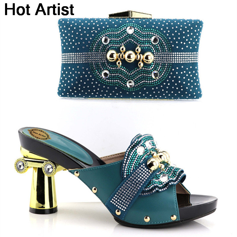 Hot Artist High Quality Rhinestones Shoes And Bag Set Italian Elegant Strange Style Heels Shoes And Bag Set For Party YH-01