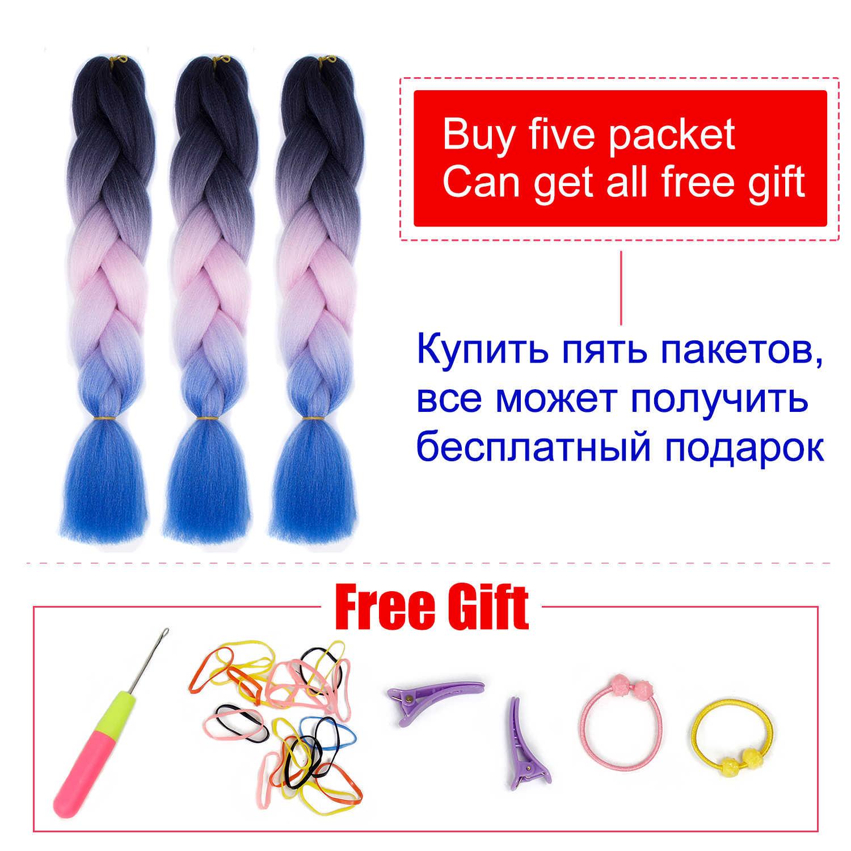 Xpression плетение волос большие синтетические косы Ombre косы kanekalon волосы розовый фиолетовый выражение Радуга плетение волос