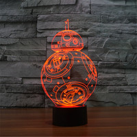 2016 USB 3D Home Atmosphere Touch Lamp LED Lamp Novel Star Wars BB Mini Acrylic