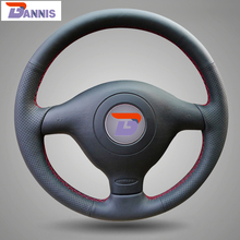 BANNIS Black Artificial Leather DIY Hand-stitched Steering Wheel Cover for Volkswagen VW Golf 4 Mk4 Old VW Passat B5