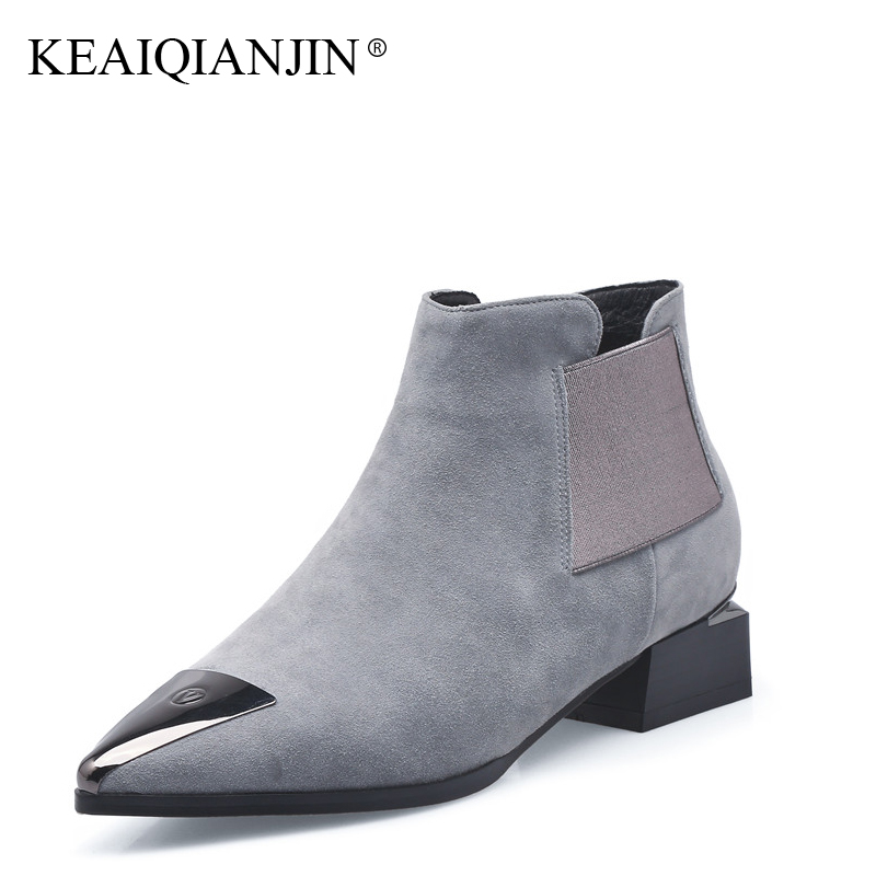KEAIQIANJIN Woman High Heel Boots Metal Decoration Martens Boots Black Gray Autumn Winter Genuine Leather Studded Ankle Boots