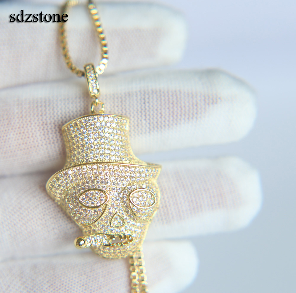 CZ hip hop jewelry boy mens fashion long chain silver gold color Skull pendant full cz cigar skull mens CUBIC ZIRCONIA necklace