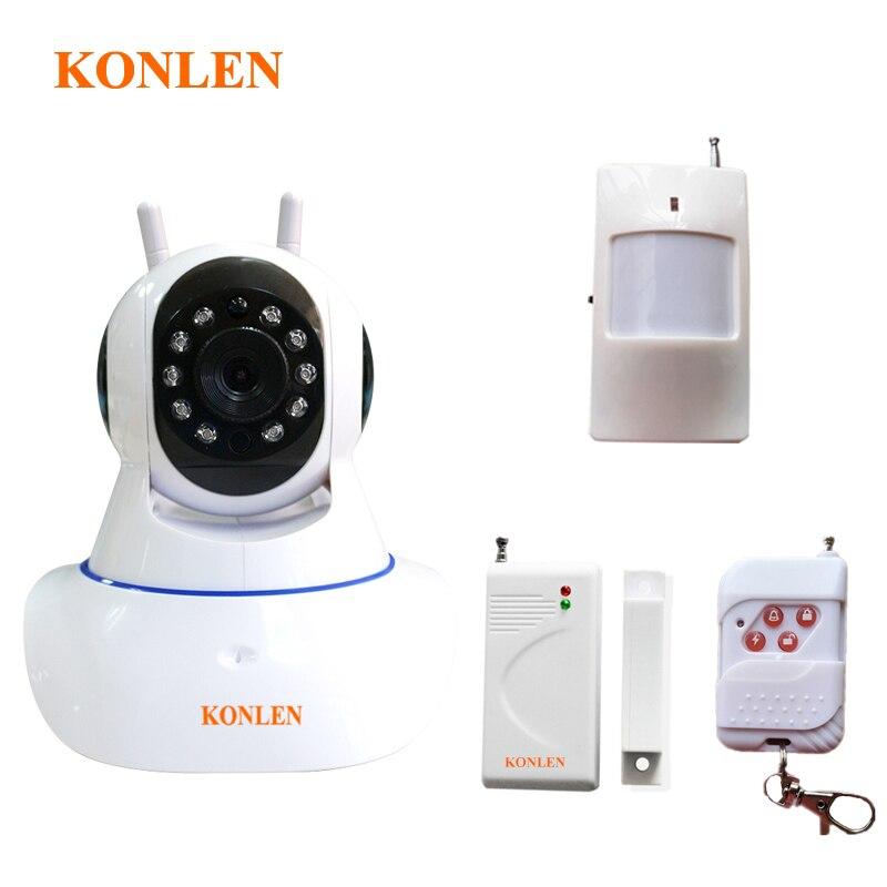 WIFI Burglar Alarm Systems Security Home Wireless CCTV Video IP Camera with Built in Siren PIR Detector Door Open Sensor Android