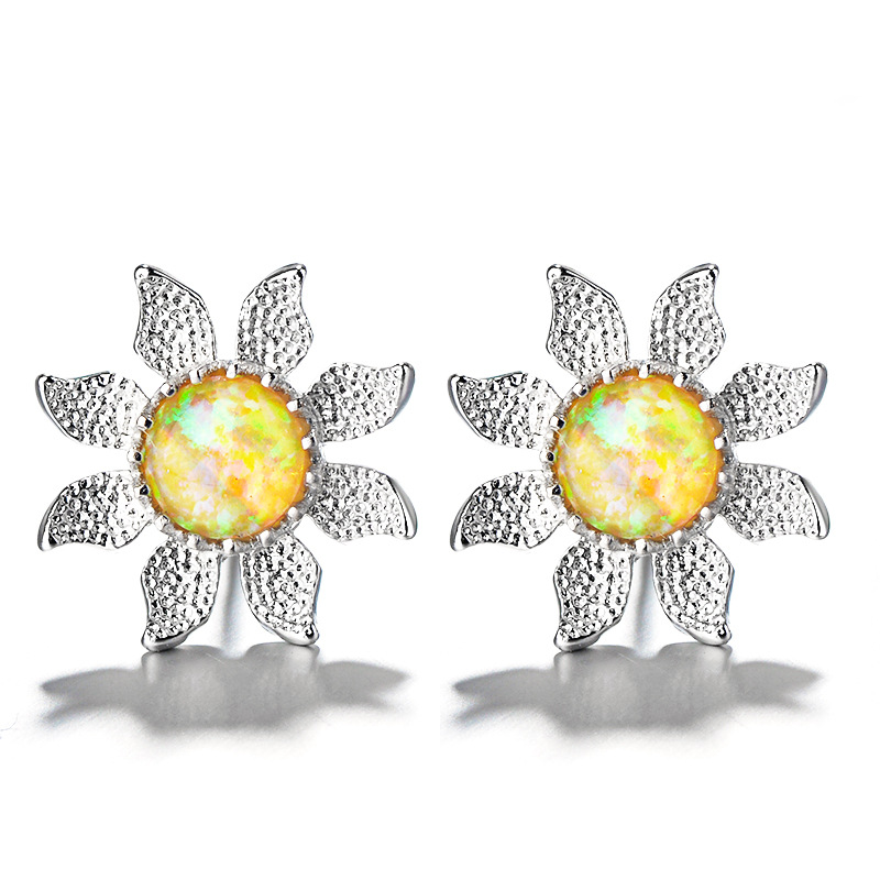 MOONROCY Silver Color Opal Earrings Bohemia Colourful Sunflower for Women Girls Gift Party Dropshipping Jewelry Wholesale image
