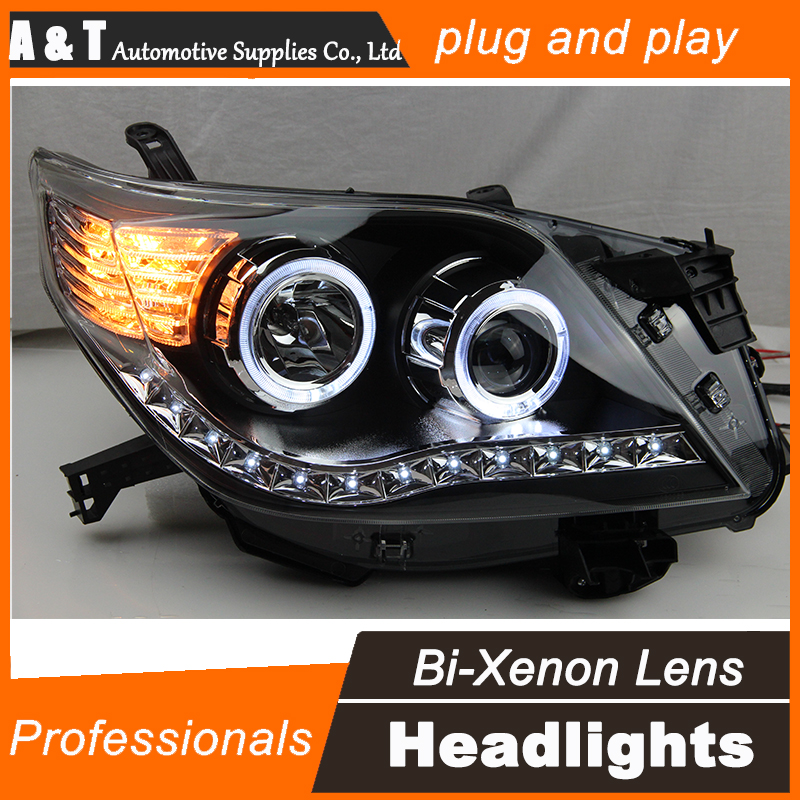 Car Styling for 2012 Prado Headlight assembly Toyota Prado LED Headlight DRL Lens Double Beam H7 with hid kit 2pcs. hireno headlamp for 2003 2009 toyota land cruiser prado headlight assembly led drl angel lens double beam hid xenon 2pcs