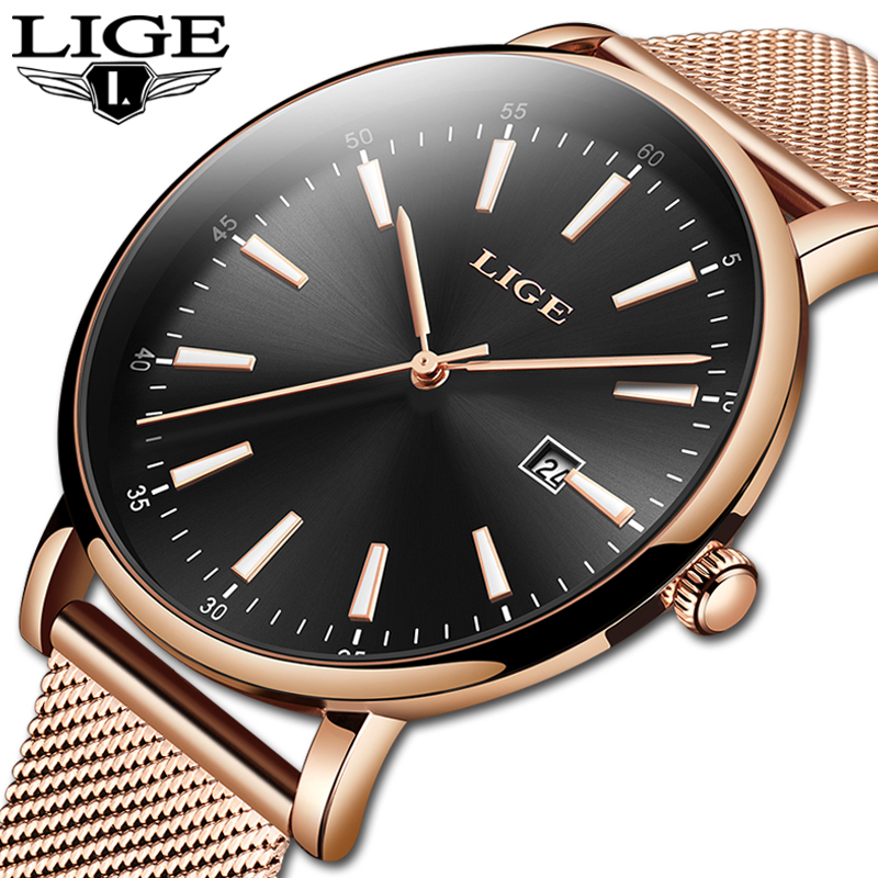 Genuine LIGE Creative Watch Women Stainless Steel Waterproof Watch Super Slim Mesh Belt Clock Ladies Gift Watch Relogio Feminino