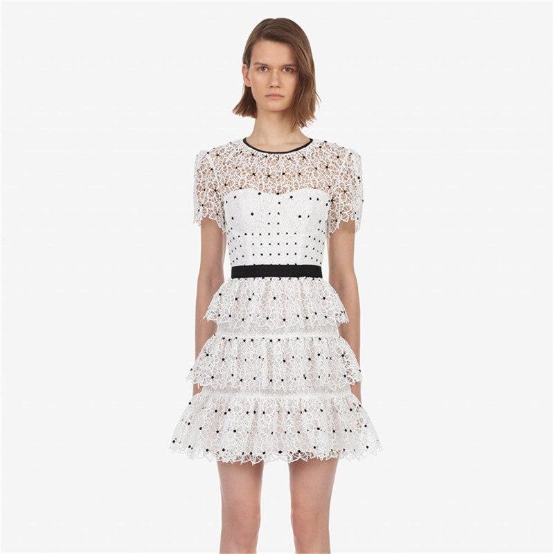 2019 été points femmes dentelle robe auto Portrait Chic Sexy évider pli une ligne robe Perspective haute qualité fête vêtements