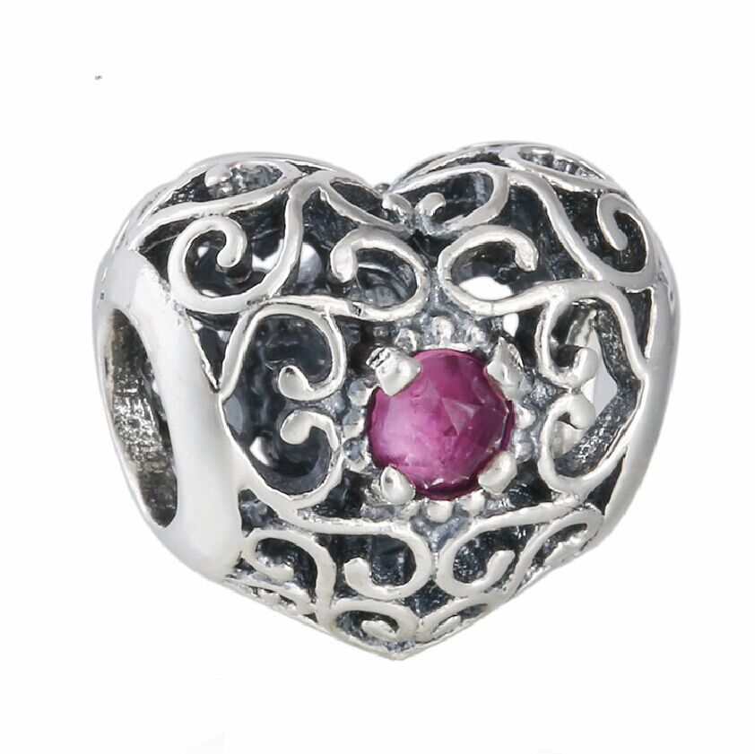 925 Sterling Silver Openwork Signature Red Crystal Heart Birthstone Charm  Beads Fits Pandora Bracelets Celebrate July Birthday,in Beads from Jewelry