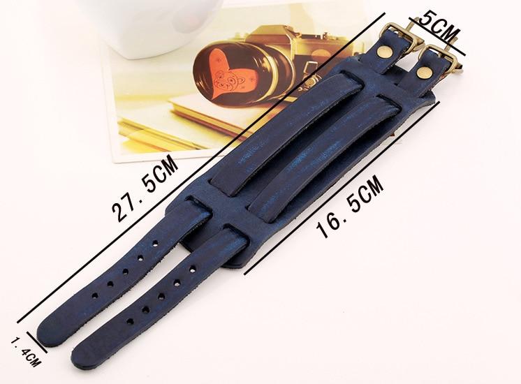 Mens Green Dark Navy Blue Brown Leather Bracelet