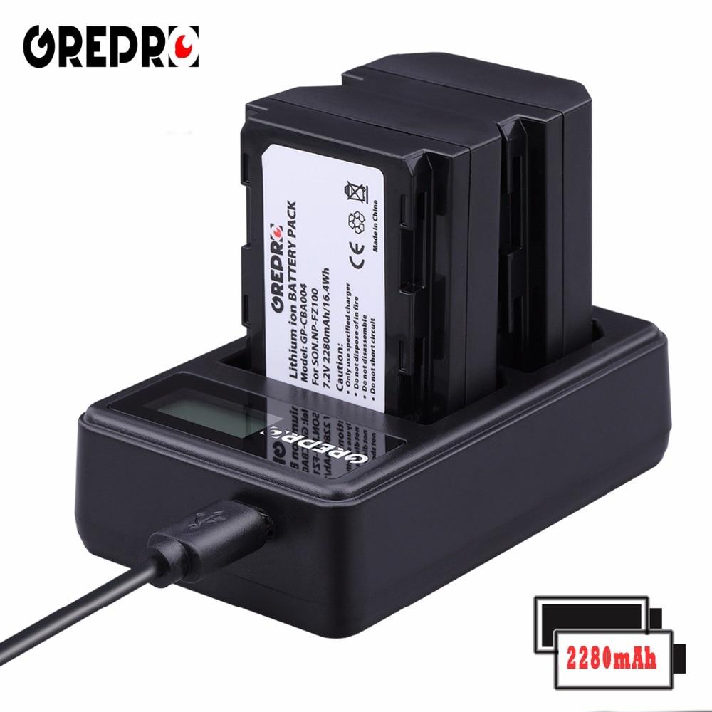 GREPRO 2 piezas 2280 mAh NP-FZ100 NP FZ100 Cámara batería + LCD cargador USB para Sony BC-QZ1, sony a9, a7R III a7 III, ILCE-9 bateria AKKU