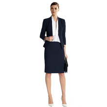 Womens Skirt Suits Slim Fit Casual Navy Female Office Uniform Blazer Coat Lady Elegant OL Ladies Business Suits Custom Made