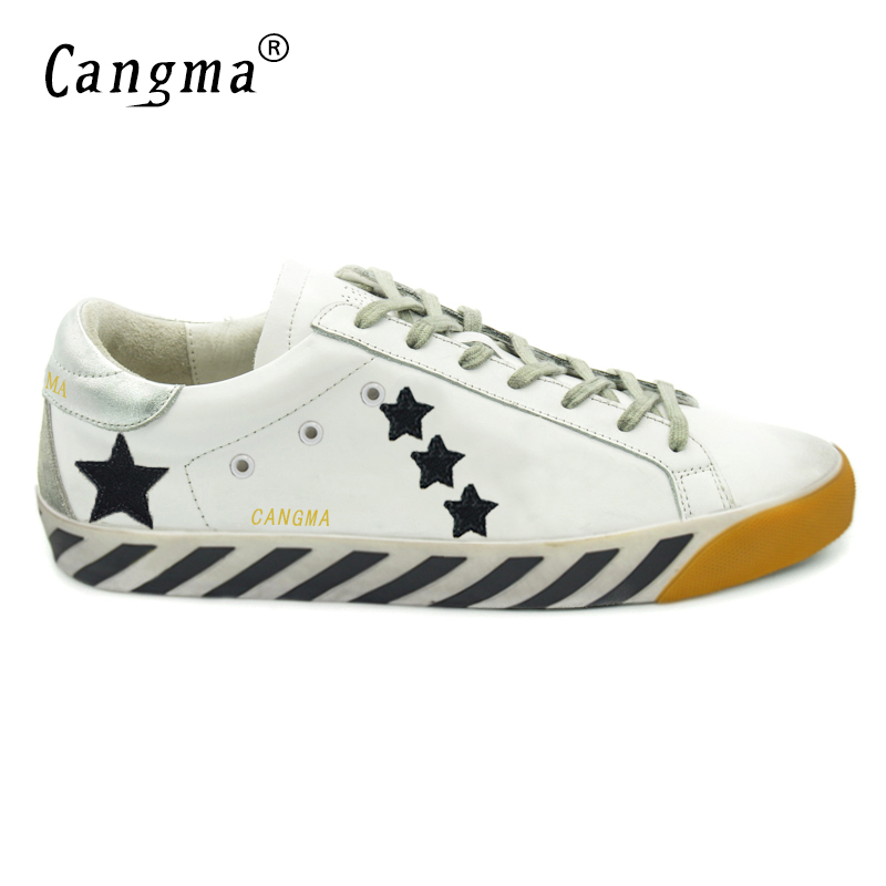 ФОТО CANGMA Mens Luxury Brand Shoes Genuine Leather Superstar Designer Casual White Stella Shoes Men High Quality Zapatillas Hombre
