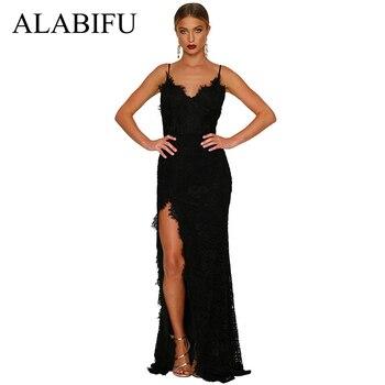 482b396dad83 Vestido de verano ALABIFU para mujer 2019 Sexy sin tirantes Vestido largo  de fiesta de boda de dama de honor Maxi vestido de encaje negro/rojo ...