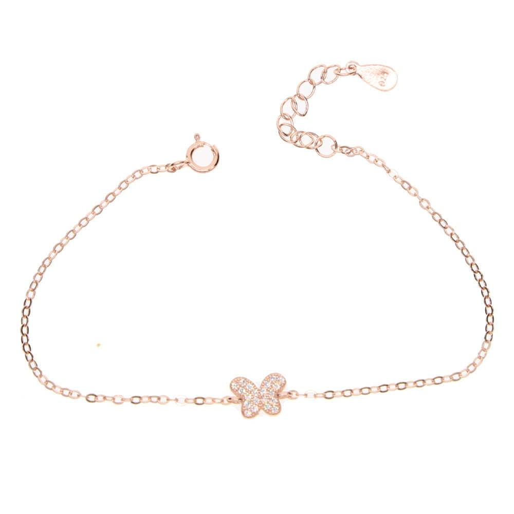 Настоящее серебро 925 проба Кубический Цирконий Кристалл CZ Бабочка Регулируемый браслет для женщин серебряного цвета или розового золота цвета