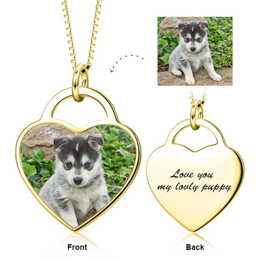 925 Sterling Silver Necklaces With Chain Personalized Pet 3 Color Photo&Text Pendant Necklace Adjustable Custom Heart Necklace