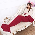 Soft Mermaid Blanket Sleeping Bed For Adult Kids 195Cm X 90Cm Cashmere Knitted Mermaid Tail Blanket Handmade Crochet Bed Wrap