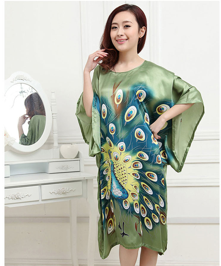 New Arrival Green Womens Faux Silk Robe Bath Gown Yukata Nightgown Sleepwear Sleepshirts Nuisette Pijama Mujer One Size SM011