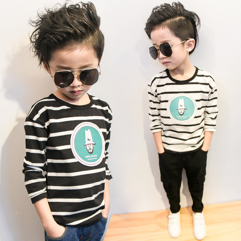 Boys Long Sleeve T Shirts Thick Stripe Kids Cartoon Tops Tees Big Boy Pinstripe Sweatshirt Cotton T Shirt Shark Plane 2-10 Yrs