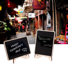 12Pcs/Set DIY Assembled Mini Chalkboard Blackboard 10cm*7.5cm Wooden Message Wedding Party Labels Event Birthday Display Stand
