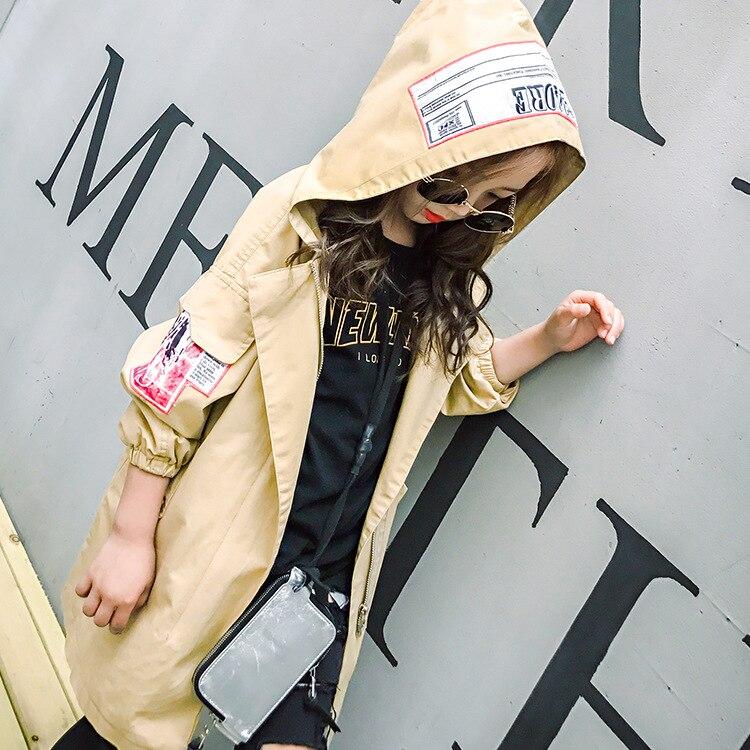 Плащ для девочек подростков 8, 10, 12, 14 лет, свободный стиль, с капюшоном, ветровка, одежда для девочек подростков