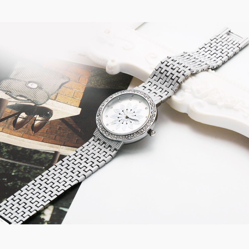 New luxury Watch for Women Metal Bracelet Style Flower Patten Dial Crystal Case Quartz Clock Top Quality wholesale free shipping 6