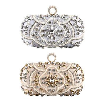 Evening Bags Diamond Pearls Beaded Wedding Clutch Women Purse Handbags Wallets Evening Clutch Bag silver clutch party bag фото