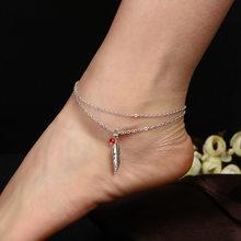 d37a84d8d299 Oro plata color hoja Plumas Tobilleras para las mujeres descalzo Sandalias  tobillo pulseras pie pierna joyería