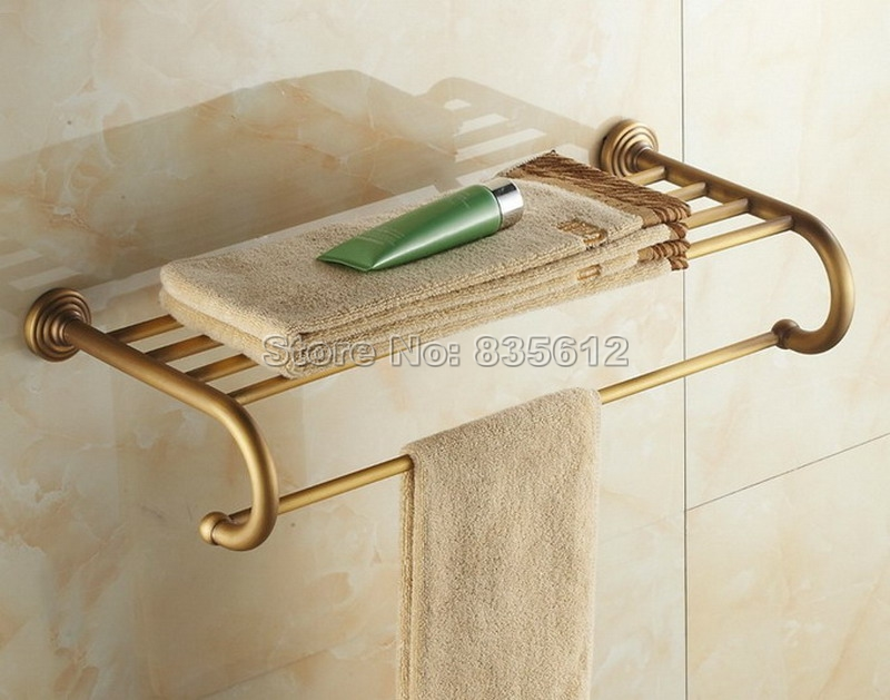 Retro Antique Brass Wall Mounted Modern Bathroom Towel Rack Holders Wba026 antique brass bathroom wall mounted double towel bar holders cba093