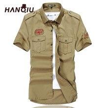 HANQIU Cargo Shirts Men Summer Fashion Solid Cotton Short Sleeve Homme Shirt Male Camisa Masculina High Quality Men Shirts