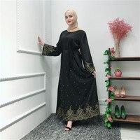 Arab Classy Embroidery Dresses Muslim Women Evening Diamonds Long Kaftan Dresses with Scarf