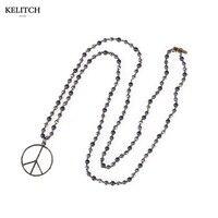 2017 הכי חדש 1 יחידות תכשיטי KELITCH ארוך חרוזים תליון ושרשרות עגול בעבודת יד אבן טבעית נשים בציר סיטונאי שרשרת