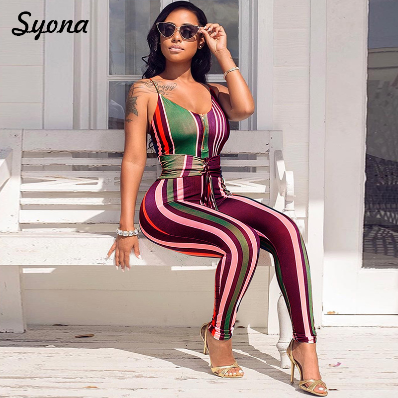 1e547377f69c Multi Color Tie Waist JUMPSUIT Classic Sleeveless Long Pants Striped  Elegant Party ROMPER Cami Strap Overalls For Women Summer-in Jumpsuits from  Women s ...