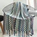 Enipate Новое богемное вязаное одеяло из акриловой ткани в полоску  мягкое и теплое для кровати  дивана  кресла 130*170 см