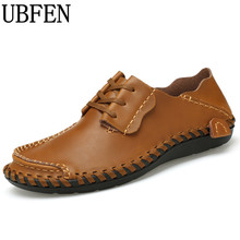 UBFEN New men's handmade Leather Creepers Loafers Casual Shoes For Men Lace-Up  flats male comfortable Male shoes Plus Size