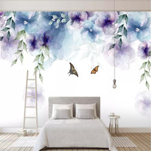 Simple hand-painted retro watercolor flower TV background wall cloth manufacturers wholesale wallpaper mural photo
