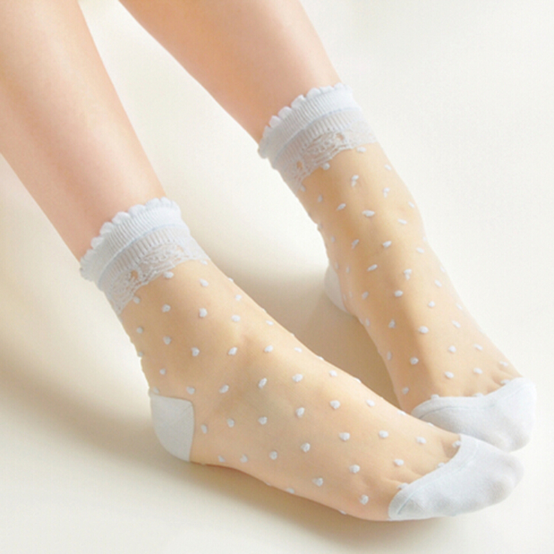 Women's Lace See Through   Socks   Cotton Rayon Dot Print Pattern Ventilate Ankle   Socks   Sheer White Blue Purple
