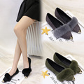 2016 autumn and winter  new flat  shoes rabbit fur  Ballerina shoes ladies fashion shoes