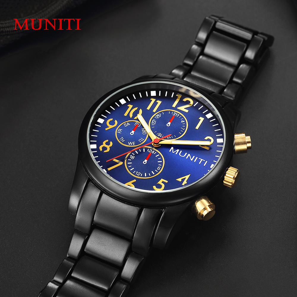 MUNITI Men Business Quartz Watch Luxury Creative Steel Band Waterproof Sports Wristwatch Casual Men's Watches Relogio Masculino