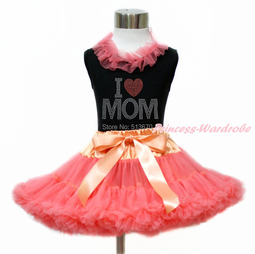 Mother's Day Rhinestone LOVE MOM Black Girl Tank Top Coral Pettiskirt Set 1-8Y MG1187 xmas red orange yellow black roses brown top baby girl pettiskirt outfit 1 8y mapsa0038