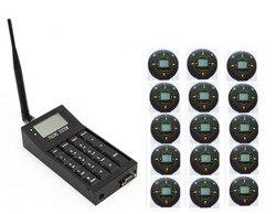 Frete grátis! Coaster pager, 1 pc teclado POCSAG transmissor, 15 pcs pager mensagem de texto, sistema de paginação de hóspedes, chamada de fila sem fio