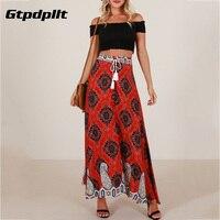 Gtpdpllt 2018 Summer Beach Skirt Bohemian Lace Up Split Long Skirt Print Empire Boho Skirts Womens