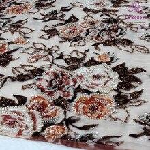 One yard 130cm  mixed color heavy beaded on net embroidery wedding bridel lace fabric weddingstyle fashion style fabrics