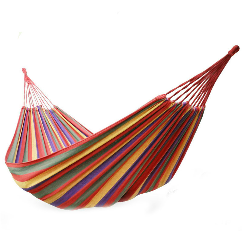 Outdoor travel essential double canvas hammock thickening outdoor camping indoor leisure swing hammock rope super bearing single person hammock canvas thicken camping indoor and outdoor travel furniture swing go to bed colorful easy to fold carry