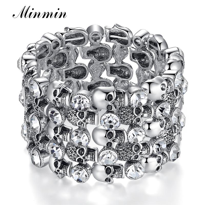Minmin Crystal Skeleton Bracelets for Women Antique Silver Color Vintage Stretch Bracelet & Bangle 2018 Fashion Jewelry MSL291