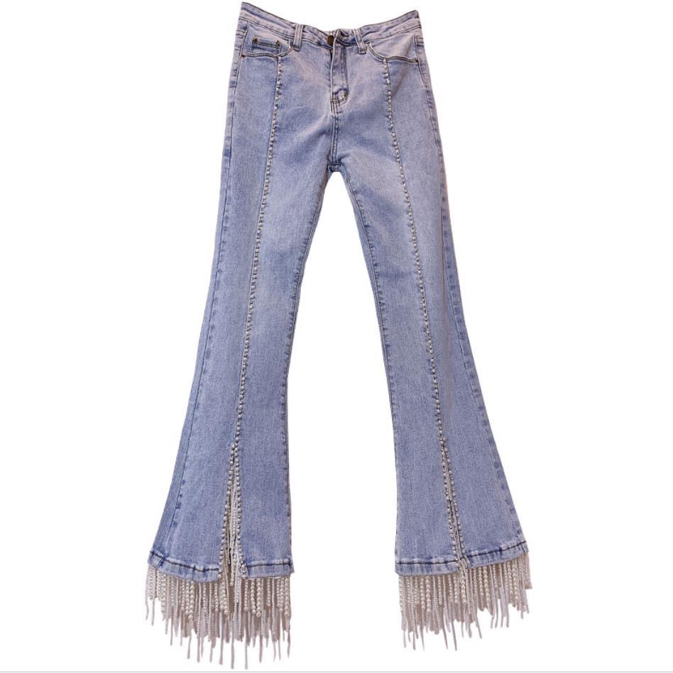 Blue Cintura Slim Mujeres Corte Pantalones Light Denim Vaqueros De Jeans Cordón Calidad Perla Alta Flare Vintage Moda Vaquero Borla Las YqHfACAxw